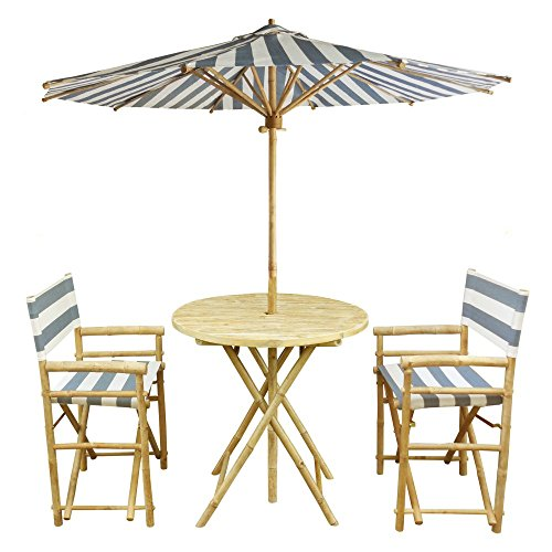 Zew 4-Piece Bamboo Outdoor Set Includes 2 Folding Director Chairs, 1 Round Table and 1 Umbrella, Blue Stripe