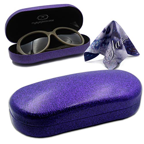 Women Purple Sunglasses Case Hard sunglasses case for women purple Eyeglass case for girls Glitter glasses case with Cleaning Cloth Reading Glasses Case (AS87 Purple)