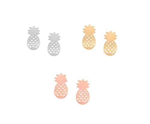074ebee58 Image Unavailable. Image not available for. Color: IGOOS' 3 Pairs Pineapple  Stud Earrings ...