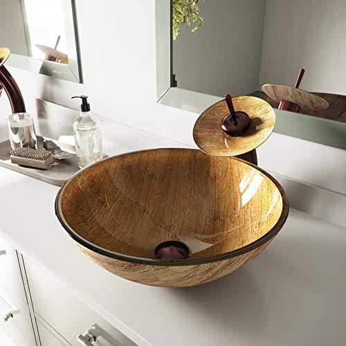 VIGO Amber Sunset Glass Vessel Bathroom Sink and Waterfall Faucet with Pop Up, Oil Rubbed Bronze
