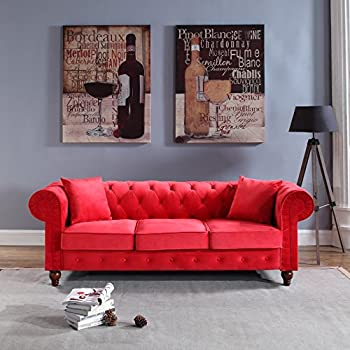 Classic Velvet Scroll Arm Tufted Button Chesterfield Style Sofa (Red) Part 53
