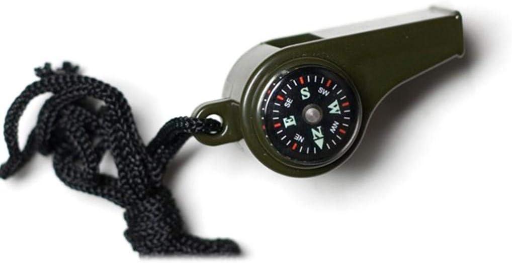 /équipement de Survie Camping perlo33ER Portable 3 en 1 thermom/ètre sifflet Boussole randonn/ée en Plein air Vert arm/ée