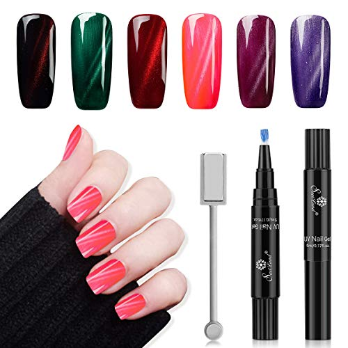 6PCS Magnetic Nail Gel Pen, Saviland Cat Eye UV Gel Nail Polish Manicure Nail Art Kit + Magnet Stick (Gel Nail Pen)