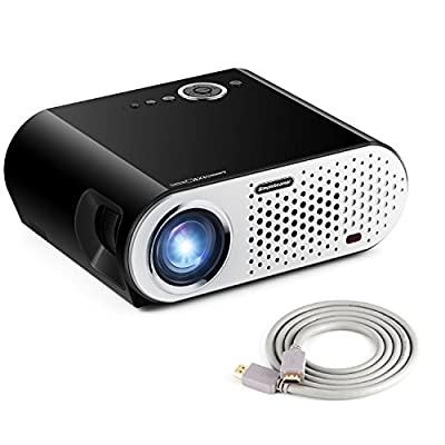 "Portable Video Projector, NEW UPGRADED Papake GP90 Home Theater Multimedia LED Video Office Projector HD 1080P 5.8"" LCD Panel HDMI/VGA/AV/USB Input with Free HDMI Cable Support TV Laptop Game SD"