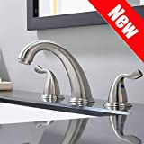 PHIESTINA Commercial Contemporary Brushed Nickel Two Handle High-Arc Widespread Bathroom Sink Faucet, With Stainless Steel Pop Up Drain