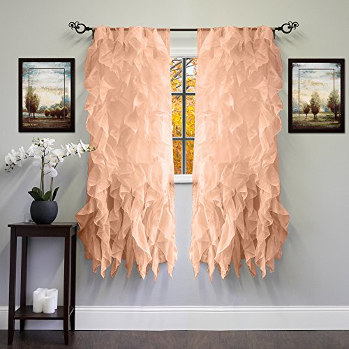 Sweet Home Collection Sheer Voile Vertical Ruffled Window Curtain Panel 50