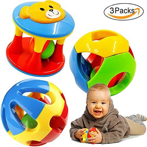 Best Price! FOREAST 3 Pcs Baby Rattle Ball Toys Colourful Shaking Bell Developmental Rolling Balls N...