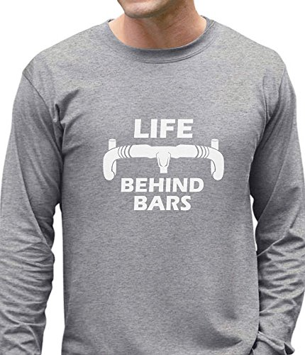 Mens Bike Life (Life Behind Bars - Gift For Bike Riders Bicycle Funny Long Sleeve T-Shirt XX-Large Gray)