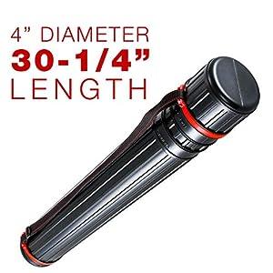 US Art Supply Black Drafting Tube - Outside Diameter: 4 inch, Inside Diameter: 3-3/4 inch, Length: 30-1/4 to 52 inches