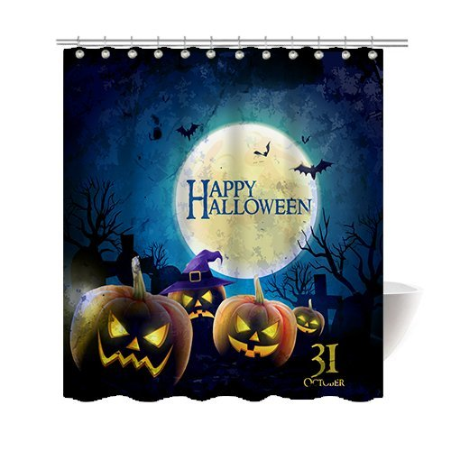 Gwein Halloween Night Theme Happy Halloween Cemetery Pumpkins Decorative Bathroom Mildew Resistant Fabric Shower Curtain Waterproof Antibacterial Shower Room Decor Shower Curtains 72 x (Cemetery Halloween Theme)
