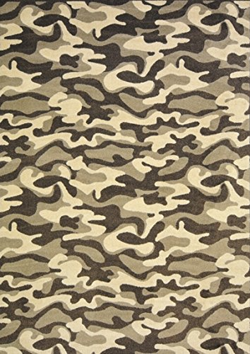 (SQUARE 4'X4' Desert Funky Camo Pattern Indoor 26 oz Stainmaster Nylon Cut Pile Area Rug )