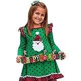 LQQSTORE Christmas Baby Dress Toddler Girls Dress Princess Tutu Pettiskirt Party Romper Birthday Outfits Festival Fancy Costume, Ruffles Long Sleeve Cartoon Print Dot Dress (GN,130)