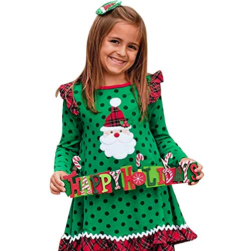 FIRERO Toddler Baby Girl Christmas Ruffles Long Sleeve Cartoon Print Dot Dress Clothes Green ()