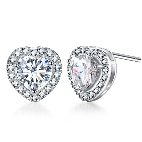 SENCLE S925 Sterling Silver Plated with 18K White Gold Cubic Zirconia Halo Heart Stud Earrings for Women (Shaped Silver Plated)