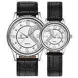 Yoyorule 1 Pair/2pc Tiannbu Ultrathin Leather Romantic Fashion Couple Wrist Watches White