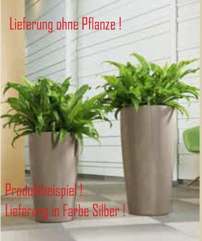Blumenübertopf Rondo Premium, sonnen-und regenbeständig für Innen und Außen, Farbe Silber, Ø 40cm Höhe 75cm