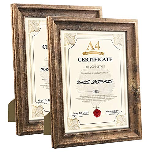 Calenzana A4 Certificate Picture Frames Rustic Distressed Document Frame Set, Wall Hanging and Tabletop, 2 Pack, Brown
