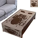 Bass Drum Coffee Table DESPKON-HOME Coffee Table Tablecloth Simple Modern Style Drum Kit for Bass Rythm Lovers Ba Dum TSS Image Sketchy Art 27.5X70.8