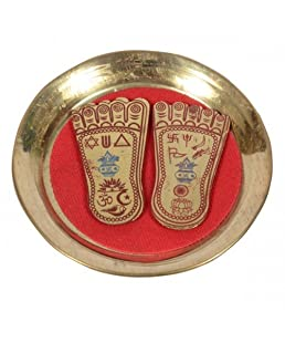 Brass Shree MA LAXMI CHARAN PADUKA (3.4 INCHES) ON A Plate for Prosperity