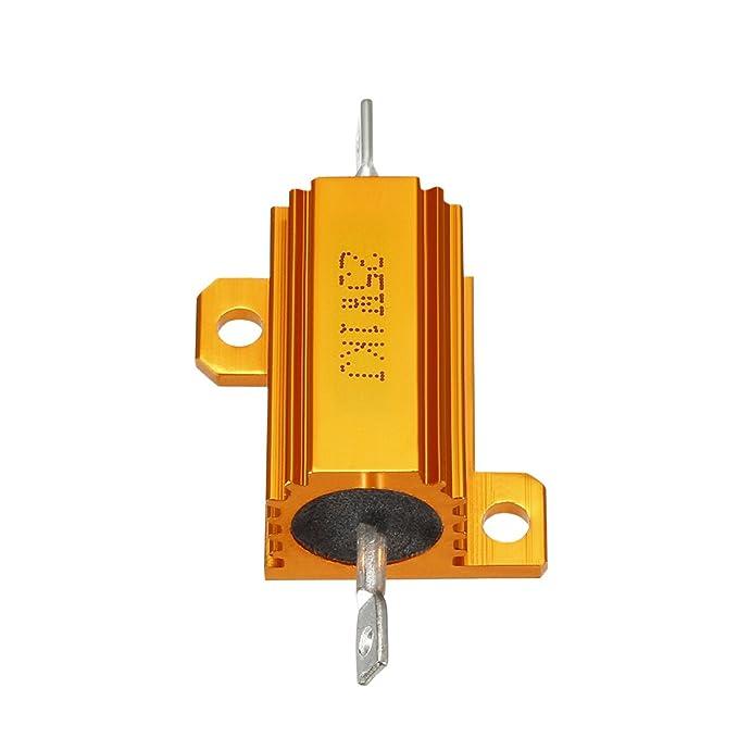 sourcingmap 25W 1K Ohm 5/% Aluminum Housing Resistor Screw Tap Chassis Mounted Aluminum Case Wirewound Resistor Load Resistors Gold Tone 1 pcs
