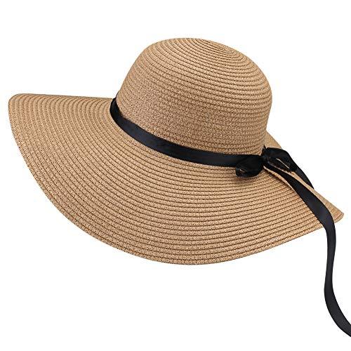 FURTALK Women Wide Brim Sun Hat Summer Beach Cap UPF50 UV Packable Straw Hat for Travel (Medium, WideBrim Khaki)