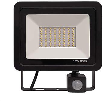 UISEBRT - Foco LED para exteriores (10 W/30 W/50 W/100 W, aluminio, resistente al agua, IP65, para jardín, garaje, deportes, hotel), Color blanco frío con detector de movimiento., 50W: Amazon.es: Iluminación