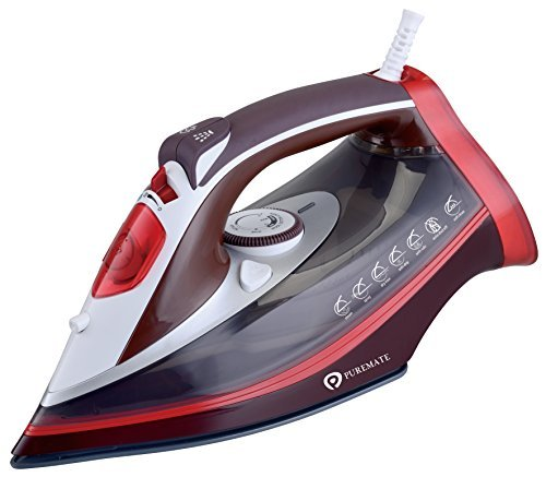 PureMate® PM13501 Powerful Steam Iron 3000Watt with Ceramic Soleplate , Anti-drip, Auto shut off , Self-clean, Anti-calc functions
