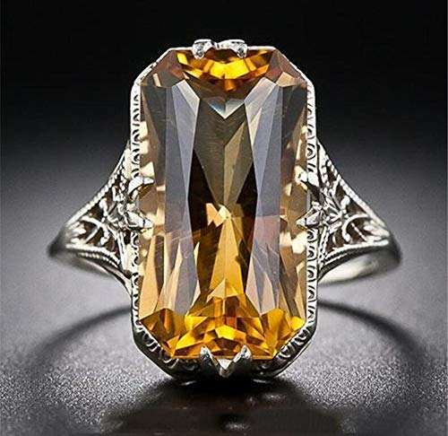 Aimys Vintage Women 925 Sliver Ring Citrine Natural Party Wedding Engagement Jewelry Cocktail Party Bridal Engagement Hollow Engraving Band (10)