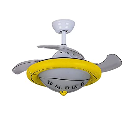 High Quality Huston Fan Child Cartoon Invisible Ceiling Fans With Lights With 4  Retractable Blade Indoor Boys Bedroom