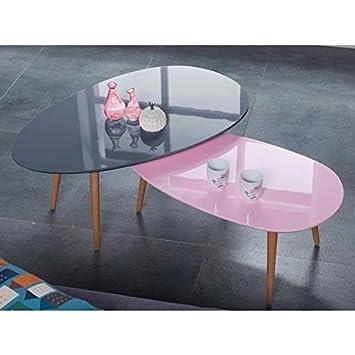 Stone Table Basse Ovale Scandinave Rose Pastel Laque L 88 X L 48