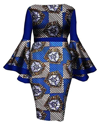 YUHENG Women Plus Size Dress Elegant flowes Printed Round Neck Horn Long Sleeve Cocktail Party Dress Wedding Dress