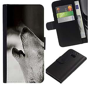 KingStore / Leather Etui en cuir / HTC One M8 / Lobo Acarreo Negro Foto Bosque Perro Blanco