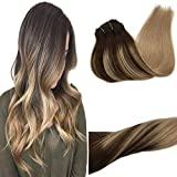 Googoo 120g Clip in Hair Extensions Ombre Chocolate Brown to Ash Blonde Real Remy Human Hair Extensions Clip in Double Weft Natural Hair Extensions 7pcs 16 inch Silky Straight