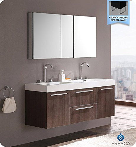 Cheap Fresca Bath FVN8013GO Opulento Double Vanity Sink With Medicine Cabinet