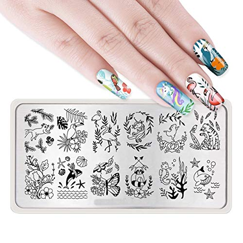 1 Pc Leaf Bee French Floral Nail Stamping Plate Deluxe Popular Nails Art Stamps Templates Scraper Tools Professional Words Scale Design Halloween Kits, Type-05 -