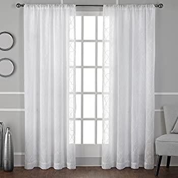 exclusive home curtains cali embroidered semisheer rod pocket window curtain panel pair winter
