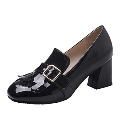 Nine Seven Nine Seven Patent Leather Women s Square Toe Chunky Mid Heel Slip On Bows Handmade Casual Loafer Pumps Apricot Outlet Online Sale
