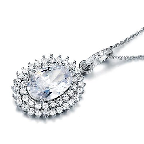 Exquisite Selebrity 6 Carat Oval Cut Created Diamond Sterling 925 Silver Flower Pendant Necklace 8006