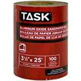 Task Tools T32313 3-2/3-Inch by 25 Feet Aluminum Oxide Sandpaper Roll, 100 Grit