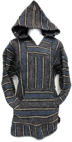 Unisex Jerga/ Baja/ Mexican Blanket Woven Hoodie Hooded Poncho Jacket (x-large, Grey/ Blue Mix)