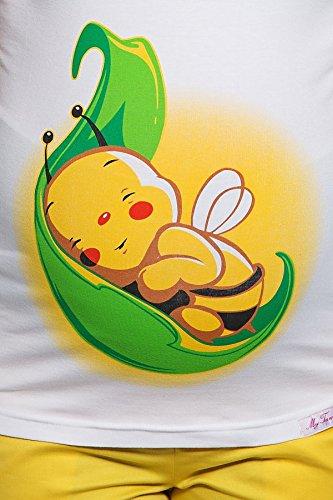 My Tummy Maternité blouse abeille sur une feuille Blanc