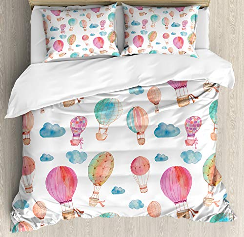 Ambesonne Watercolor Duvet Cover Set Queen Size, Hand Painted Style Floating Hot Air Balloons with Blue Clouds Print, Decorative 3 Piece Bedding Set with 2 Pillow Shams, Blue Pink - Hot Air Balloon Cover