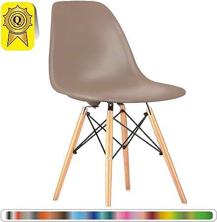 Decopresto 1 x Chaise Design Scandinave Taupe Pieds Bois Naturel DP DSWL TA 1