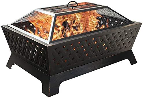 Sophia William Outdoor Wood Burning Fire Pit Rectangle 33.9″ Lx24.0 Wx12.6 H Heavy Duty,Large Patio Steel Bonfire BBQ Grill Firepit
