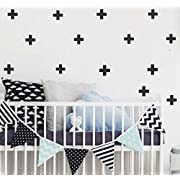 YOYOYU 72pcs/pack Swiss Cross Wall Decal - Home Decor Wall Sticker-Plus Sign Cross Stickers for Kids Nursery Bedroom YYU-13(Black)