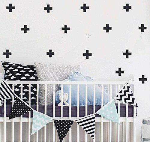 (YOYOYU 72pcs/pack Swiss Cross Wall Decal - Home Decor Wall Sticker-Plus Sign Cross Stickers for Kids Nursery Bedroom YYU-13(Black))