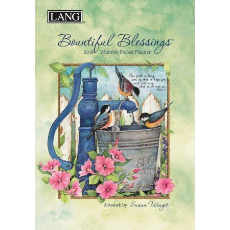 "LANG - 2018 Monthly Pocket Planner - ""Bountiful Blessings"" - Artwork By Susan Winget - 13 Month - January to January - Portable 4.5"" x 6.5"""