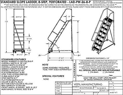 Vestil LAD-PW-26-8-P - Escalera portátil para almacén (23,5625