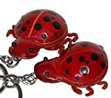 Genuine Leather key Chain,a Pair of Ladybug shape Charm,Lovely Burgundy.