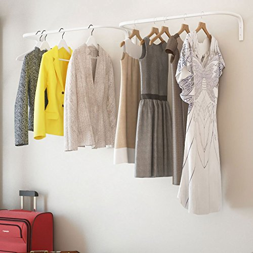 Adjustable Double Hanging Closet Bar Rail Organization System Durable Steel Construction Buyer Receives 2 Bars (White)